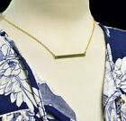 Gold Necklace Solid Straight Sideways Horizontal Bar Pendant Gift Celebrity