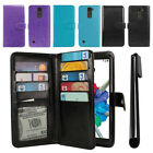 For LG Stylus 2 Plus MS550 Flip Card Holder Wallet Cover Case Wrist Strap + Pen