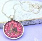 Disney Lady and the Tramp Inspired Silver Pendant Glass Dome Necklace Jewellery
