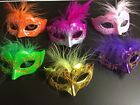 72 Mini Mardi Gras Feathered GLITTER MASK party cupcake wedding quince favor