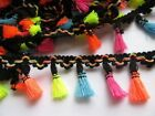 5Y Tassel Lace Trim Cotton Fabric Ribbon Fringe Drop For Dress Rainbow HW006