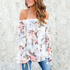 Women Ladies Off Shoulder Floral Tops Long Sleeve Shirt Casual Blouse T-Shirt AY