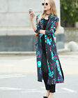 DIANE VON FURSTENBERG DVF Long Collared Floral-print silk-gabardine wrap coat