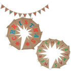 Cheerful Merry Christmas Linen Pennant Xmas Triangle Hanging Party Dressing Hot