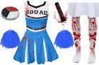 GIRLS BLUE ZOMBIE CHEERLEADER CHILDS SCHOOL FANCY DRESS COSTUME HALLOWEEN TEEN