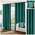 Ready Made Teal Luxury Faux Silk Lined Eyelet Ring Top Curtain Pair Living
