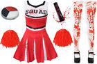 LADIES RED ZOMBIE CHEERLEADER WOMENS SCHOOL FANCY DRESS COSTUME HALLOWEEN ADULT