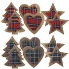 Wooden Tartan Print Christmas Tree Decoration 6 Pack Star Heart Bauble Red Green