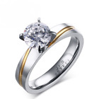 Women's White Sapphire Size 6-9 Silver Band Stainless Steel Wedding Rings Gift