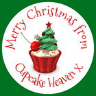 PERSONALISED GLOSS CHRISTMAS CUPCAKE XMAS PARTY BAKING GIFT  STICKERS ANY TEXT