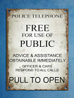 Metal plaque retro vintage style Police phone box Tardis Dr Who wall door sign