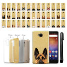 For Huawei Ascend XT H1611 Dog Design Slim Sparkling Gold TPU Case Cover + Pen