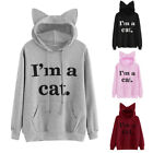 UK Women's Casual Sweater Letter Print 'I AM A Cat' Ear Pullover Hoodie Tops TY