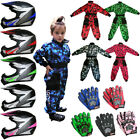 Wulfsport Flite Child Kids Motocross Helmet LEOPARD Camo Race Suit Gloves QUAD