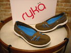 Ryka Tango Brown Leather Bungee Slip on Skimmer Flats NEW