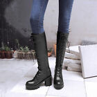 New Lace Up Ladies Black Women Block Heels Knee High Riding Boots Military Shoes