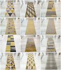Ochre Mustard Yellow Gold Golden Cream Long Thin Hallway Hall Runner Rug Mat NEW