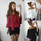 Women Loose Off Shoulder Tops Blouse Boat Neck Kimono Flouncing Pagoda Sleeve