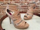 Chi Falchi Alli Sand Tan Pleated Leather High Heel Strappy Sandal NEW