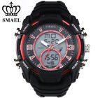Men's LED Analog Digital Multifunction Dual Display Stainless Steel Wrist Watch