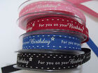 Berisfords Ribbon - 'FOR YOU ON YOUR BIRTHDAY' Stars 15mm - var colours /lengths