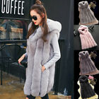 Winter Warm Womens Hooded Gilet Outwear Slim Faux Fur Waistcoat Jacket Coat UK