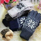 Fashion Unisex Winter Double Layer Thick Warm Snowflake Knitted Wool Gloves