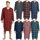 Ashford & Brooks Mens Flannel Plaid Long Sleep Shirt Henley Nightshirt Nightgown