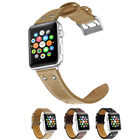 Vintage Genuine Leather Wrist Band+Metal Adapter For Apple Watch 1 2 3 38/42mm