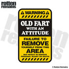 Old Fart Warning Yellow Decal Funny Hard Hat Window Gloss Sticker HGV