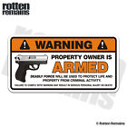 Armed Deadly Force Warning Security Decal Gun Firearm Gloss Sticker HGV