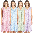 Casual Nights Women's Floral Lace and Ribbon Long Sleeveless Nightgown
