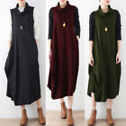 Winter Womens Turtleneck Sleeveless Midi Dress Casual Baggy Party Cocktail Dress