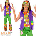 Hippie Girls Fancy Dress 1960s 70s Hippy Childrens Kids Childrens Costume Outfit