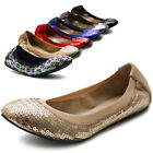 ollio Womens Shoes Ballet Multi Color Spangle Comfort Flats