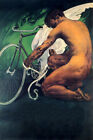 CYCLING MAN TYING UP WINGS ON BICYCLE SPORT BIKE VINTAGE POSTER REPRO