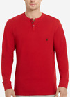 Polo Ralph Lauren Men's Red Waffle Knit Thermal Long Sleeve Henley T-Shirt