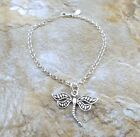 Sterling Silver Dragonfly Charm on  Sterling Silver  Rolo Bracelet -1116