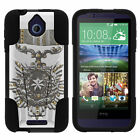 For HTC Desire 510 Hard Case Soft Hybrid Camo Designs Black Stand