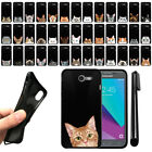For Samsung Galaxy J3 Emerge J327 2nd Cat Design Black SILICONE Case Cover + Pen
