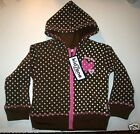 Girls Hooded Sweatshirts Zip Up Brown Polka Dots  24m  5