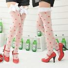 New anti-slip Sexy White Silk Stockings print red heart with Lace bow