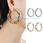 1 Pair Fashion Women Lady Silver/Rose Gold Plated Charm Ear Hoop Loop Earrings