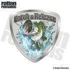 Catch and Release Decal Fish Largemouth Bass Fishing Gloss Sticker HVG