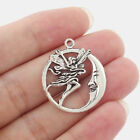 10/30pcs Antique Silver Tone Round Moon Fairy Angel Charms Pendant Jewelry Beads