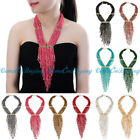 Vintage Ethnic Gold Chain Mini Resin Beads Fringe Tassel Bib Statement Necklace