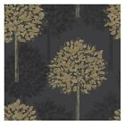 Arthouse Boulevard Wallpaper - Black / Gold Trees - Leaves - 417902 Feature Wall