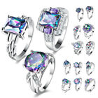 Women Jewelry Silver Wedding Rings Zircon Princess Colorful Crystal love Promise