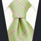 """D19 Suit Mens Necktie Tie New Green Pink Stripes Fashion Extra Long 63"""" 57.5"""""""