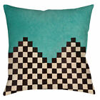 "Retro Vintage ANDESKA TEAL Throw Pillow or Cover, 14"" or 16"", Checkered Pattern"